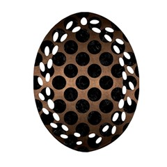 Circles2 Black Marble & Bronze Metal (r) Oval Filigree Ornament (two Sides) by trendistuff