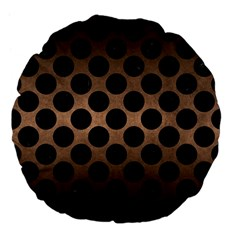 Circles2 Black Marble & Bronze Metal (r) Large 18  Premium Flano Round Cushion  by trendistuff