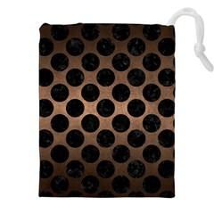 Circles2 Black Marble & Bronze Metal (r) Drawstring Pouch (xxl) by trendistuff