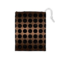 Circles1 Black Marble & Bronze Metal (r) Drawstring Pouch (medium) by trendistuff