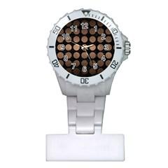 Circles1 Black Marble & Bronze Metal Plastic Nurses Watch by trendistuff