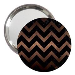 Chevron9 Black Marble & Bronze Metal 3  Handbag Mirror by trendistuff