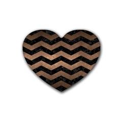 Chevron3 Black Marble & Bronze Metal Rubber Heart Coaster (4 Pack) by trendistuff