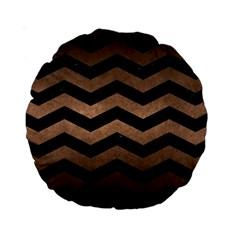 Chevron3 Black Marble & Bronze Metal Standard 15  Premium Round Cushion  by trendistuff