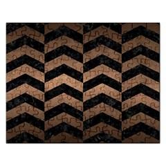 Chevron2 Black Marble & Bronze Metal Jigsaw Puzzle (rectangular) by trendistuff