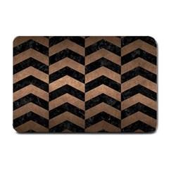 Chevron2 Black Marble & Bronze Metal Small Doormat by trendistuff
