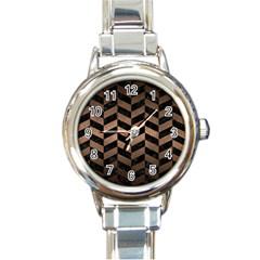 Chevron1 Black Marble & Bronze Metal Round Italian Charm Watch by trendistuff