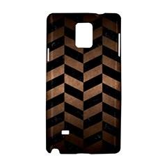 Chevron1 Black Marble & Bronze Metal Samsung Galaxy Note 4 Hardshell Case by trendistuff