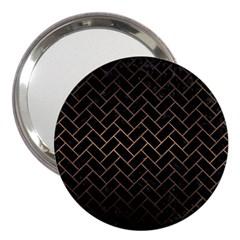 Brick2 Black Marble & Bronze Metal 3  Handbag Mirror by trendistuff