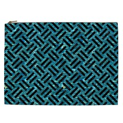 Woven2 Black Marble & Blue Green Water (r) Cosmetic Bag (xxl) by trendistuff