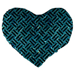Woven2 Black Marble & Blue Green Water (r) Large 19  Premium Flano Heart Shape Cushion by trendistuff