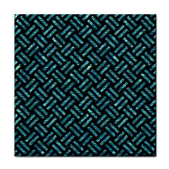 Woven2 Black Marble & Blue Green Water Tile Coaster by trendistuff