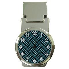 Woven2 Black Marble & Blue Green Water Money Clip Watch by trendistuff
