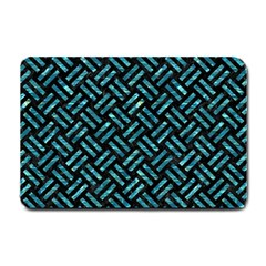 Woven2 Black Marble & Blue Green Water Small Doormat by trendistuff