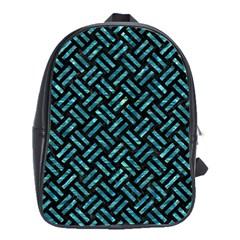 Woven2 Black Marble & Blue Green Water School Bag (large) by trendistuff