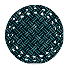 Woven2 Black Marble & Blue Green Water Ornament (round Filigree) by trendistuff