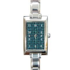 Woven1 Black Marble & Blue Green Water (r) Rectangle Italian Charm Watch by trendistuff