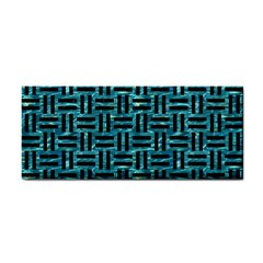 Woven1 Black Marble & Blue Green Water (r) Hand Towel by trendistuff