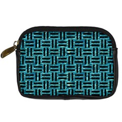 Woven1 Black Marble & Blue Green Water (r) Digital Camera Leather Case by trendistuff
