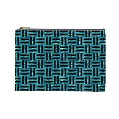 Woven1 Black Marble & Blue Green Water (r) Cosmetic Bag (large) by trendistuff