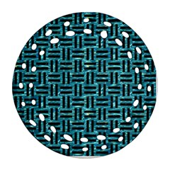Woven1 Black Marble & Blue Green Water (r) Ornament (round Filigree) by trendistuff