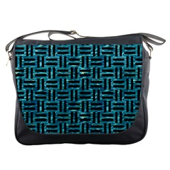 Woven1 Black Marble & Blue Green Water (r) Messenger Bag by trendistuff