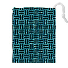 Woven1 Black Marble & Blue Green Water (r) Drawstring Pouch (xxl) by trendistuff