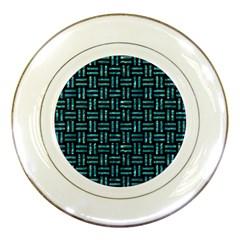 Woven1 Black Marble & Blue Green Water Porcelain Plate by trendistuff