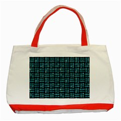 Woven1 Black Marble & Blue Green Water Classic Tote Bag (red) by trendistuff