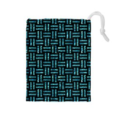 Woven1 Black Marble & Blue Green Water Drawstring Pouch (large) by trendistuff
