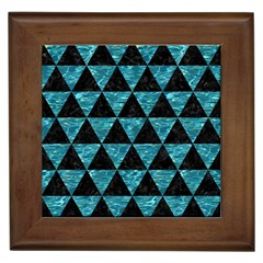 Triangle3 Black Marble & Blue Green Water Framed Tile by trendistuff