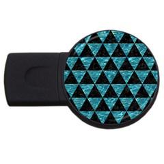 Triangle3 Black Marble & Blue Green Water Usb Flash Drive Round (2 Gb) by trendistuff