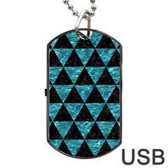 Triangle3 Black Marble & Blue Green Water Dog Tag Usb Flash (one Side) by trendistuff