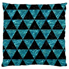 Triangle3 Black Marble & Blue Green Water Large Cushion Case (two Sides) by trendistuff