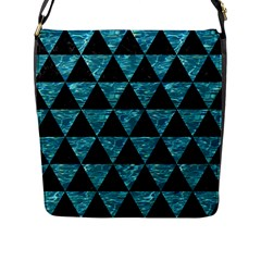 Triangle3 Black Marble & Blue Green Water Flap Closure Messenger Bag (l) by trendistuff