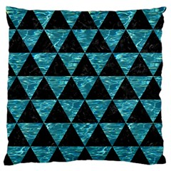 Triangle3 Black Marble & Blue Green Water Large Flano Cushion Case (one Side) by trendistuff
