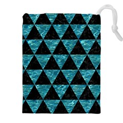 Triangle3 Black Marble & Blue Green Water Drawstring Pouch (xxl) by trendistuff