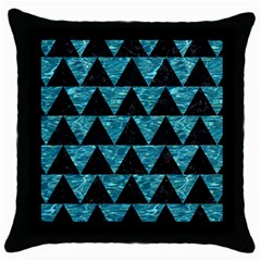 Triangle2 Black Marble & Blue Green Water Throw Pillow Case (black) by trendistuff