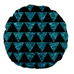 Triangle2 Black Marble & Blue Green Water Large 18  Premium Round Cushion  by trendistuff
