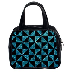Triangle1 Black Marble & Blue Green Water Classic Handbag (two Sides) by trendistuff