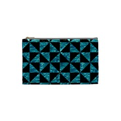 Triangle1 Black Marble & Blue Green Water Cosmetic Bag (small) by trendistuff