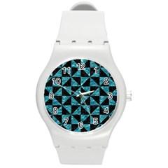 Triangle1 Black Marble & Blue Green Water Round Plastic Sport Watch (m) by trendistuff