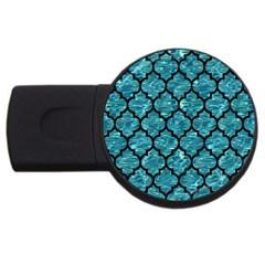 Tile1 Black Marble & Blue Green Water (r) Usb Flash Drive Round (4 Gb) by trendistuff