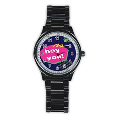 Behance Feelings Beauty Hey You Leaf Polka Dots Pink Blue Stainless Steel Round Watch by Mariart