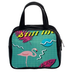 Behance Feelings Beauty Flamingo Bird Still Life Leaf Green Pink Red Classic Handbags (2 Sides) by Mariart
