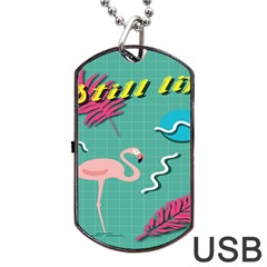 Behance Feelings Beauty Flamingo Bird Still Life Leaf Green Pink Red Dog Tag Usb Flash (one Side) by Mariart