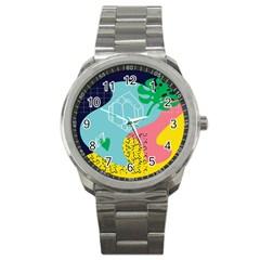 Behance Feelings Beauty Waves Blue Yellow Pink Green Leaf Sport Metal Watch by Mariart
