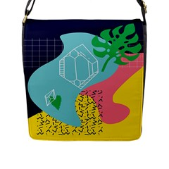 Behance Feelings Beauty Waves Blue Yellow Pink Green Leaf Flap Messenger Bag (l)  by Mariart