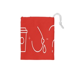 Caffeine And Breastfeeding Coffee Nursing Red Sign Drawstring Pouches (small)  by Mariart