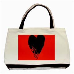 Broken Heart Tease Black Red Basic Tote Bag (two Sides) by Mariart